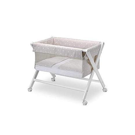 Pirulos 28212520 - Minicuna plegable tijera blanca, diseño stars, 68 x 90 x71 cm, color blanco y lino