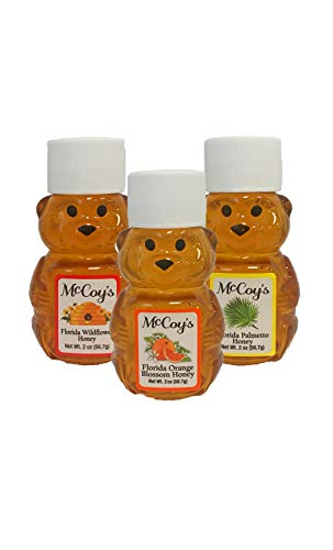 Raw Honey - Pure All Natural Unfiltered & Unpasteurized - McCoy's Honey 2oz Variety 3 Pack - Wedding Honey Jar Favors