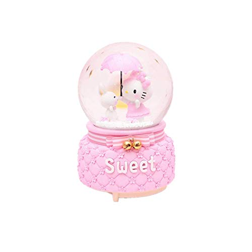 Flower_piggy Hello Kitty Music Crystal Ball Light Snow Rotate Home Decor Ornament Birthday (Kitty with Rabbit, 1Song+Snow+Inside Rotate)