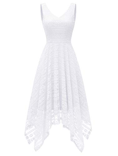 MODECRUSH Womens Cocktail Party Wedding Floral Lace V Neck Evening Formal Dresses M White