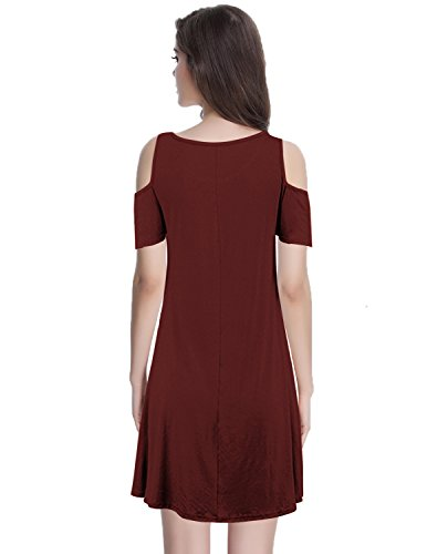 Women's Swing Top Burgundy Tunic Shoulder shirt with Loose Cold Cekaso Dress Pocket T Dress 4dwYXa