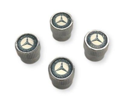 Genuine Mercedes-Benz VALVE STEM CAPS, BLUE LAUREL WREATH BQ 6 40 8131
