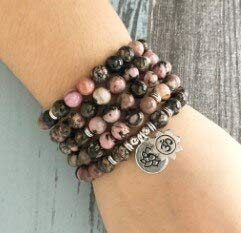 (Stone of Power Bead Bracelets | Black Line Rhodonite Meditation Yoga Gift Double Charm Necklaces | for Women)