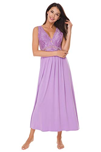 (Womens Sleepwear Lace Lingerie Chemises V Neck Nightgown Long Sexy Sleep Dress Sleeveless Lace for Women Elegant (Lavender, Small))