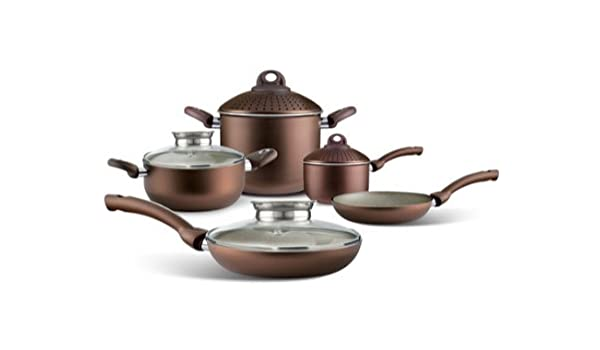 Aluminio Biostone Pure uniqum - Batería de cocina antiadherente de 5 piezas en Chocolate: Amazon.es: Hogar