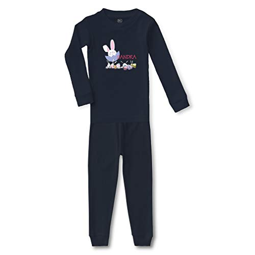 Personalized Custom Easter Eggs Bunnys Hunter Eggs Cotton Crewneck Boys-Girls Infant Long Sleeve Sleepwear Pajama 2 Pcs Set - Navy, 18 Months for $<!--$23.99-->
