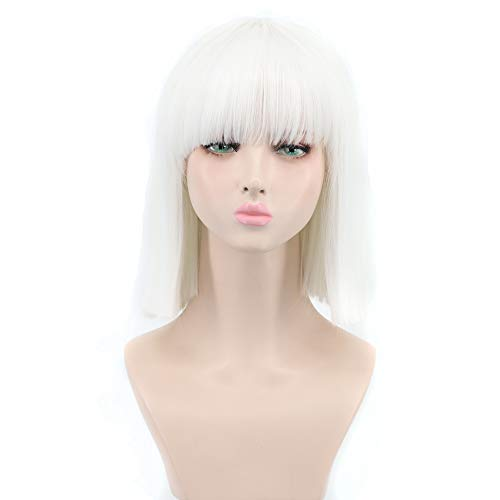 Yuehong Shoulder Length Lob White Halloween Party Bob Wigs For Women Costume Wig (White) -