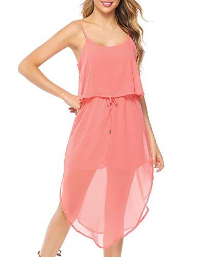 (Aibrou Women's Sleeveless V Neck Chiffon Double Layers Casual Summer Cami Dress Pink)