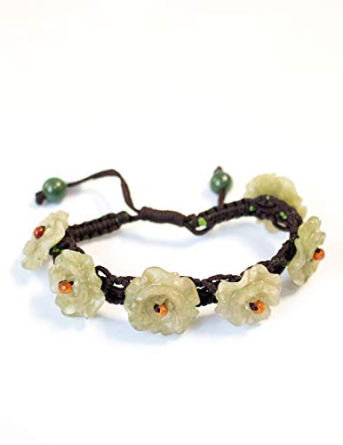 - Dahlia Hand-Knotted Vintage Jade Flower Band Bracelet - Adjustable Cord