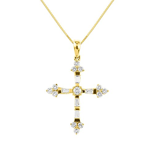 - Baguette and Round Diamond Cross Necklace 14K Yellow Gold 1/2 CTTW Diamonds