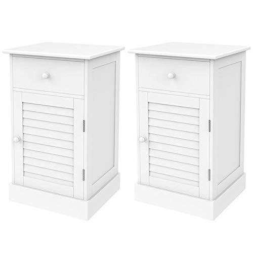 Topeakmart Set of 2 Wooden Nightstands End Table Storage for Bedroom Bathroom White