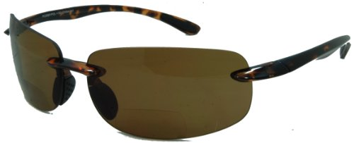 (In Style Eyes Lovin Maui Wrap Polarized Nearly Invisible Line Bifocal Sunglasses tortoise 2.50)
