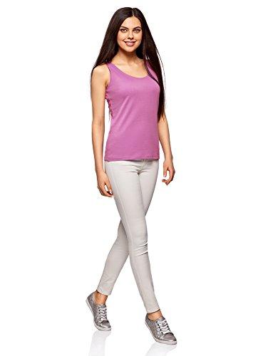 Morado Ultra Oodji Mujer Básica Punto De 4c00n Camiseta Tirantes U0fqx40w