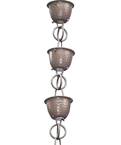 Monarch Aluminum Hammered Cup Rain Chain, 8-1/2 Feet Length (Beaver Brown)