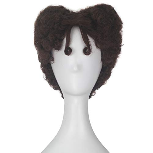 Miss U Hair Adult Short Curly Agedness Hair Heart Style Halloween Costume Wig (Chestbut Brown) ()