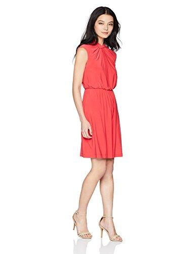 Adrianna Papell Women's Petite Matte Jersey FIT and Flare Dress, Geranium, 4P