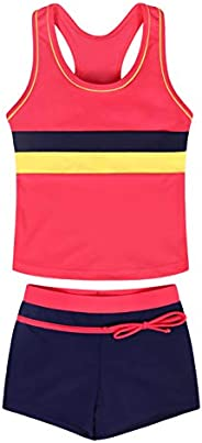 Kantenia Little Girls' Two Piece Boyshort Tankini Kids Girl Swimsuit Summer Beach Bathing Suit Clo