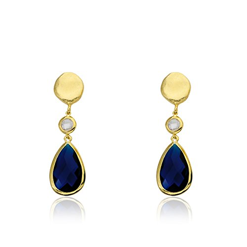 (Riccova Arctic Mist Brushed 14k Gold-Plated Nugget With CZ & Faceted Blue Teardrop Dangle Earring/)