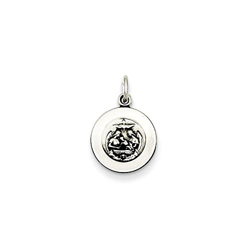 .925 Sterling Silver Children's Antiqued Baptismal Medal Charm Pendant (Medal Medallion Religious Baptismal)