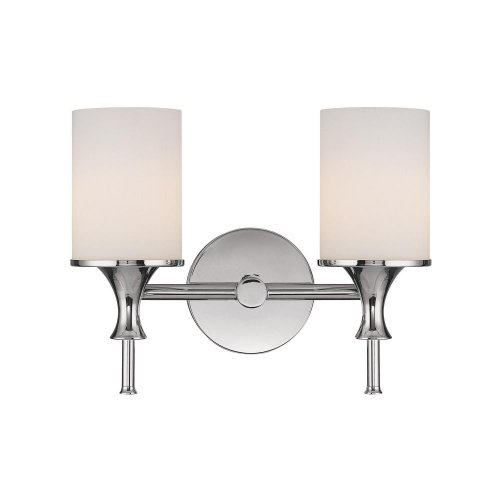 - Capital Lighting 1397PN-105 Studio 2-Light Vanity Fixture, Polished Nickel with Soft White Glass