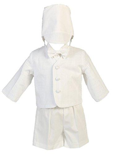 Baby Toddler Boys Christening Cotton Plaid Eton & Short Set 3T