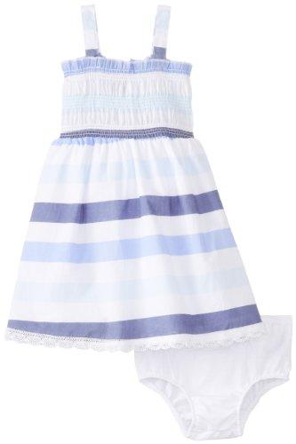 Calvin Klein Baby-Girls Infant Stripes Dress, Blue, 18 Months