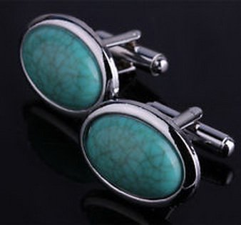 Style Cufflinks Cufflinks (Pixel Cufflinks 1985 - Stainless steel Vintage Turquoise Style Cufflinks Men's party wedding)