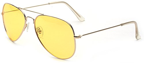 Outray Unisex Night Vision Aviator Sunglasses A114 - Sunglasses Yellow Aviator