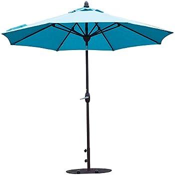 SORARA Sunbrella Patio Umbrella 9-Feet Outdoor Market Table Umbrella with Auto Tilt&Crank&Umbrella Cover, 8 Ribs, Canvas Aruba