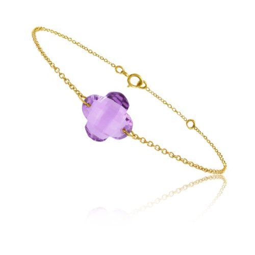 Tousmesbijoux Bracelet chaine Or jaune 750/00 et améthyste taille fleur