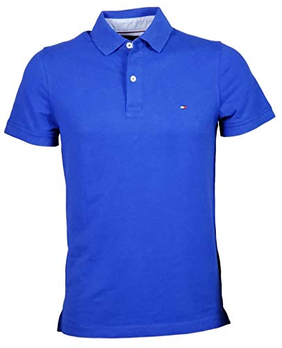 Tommy Hilfiger Mens Stretch Slim Fit Mesh Polo Shirt (Large, DarkBlue) ()