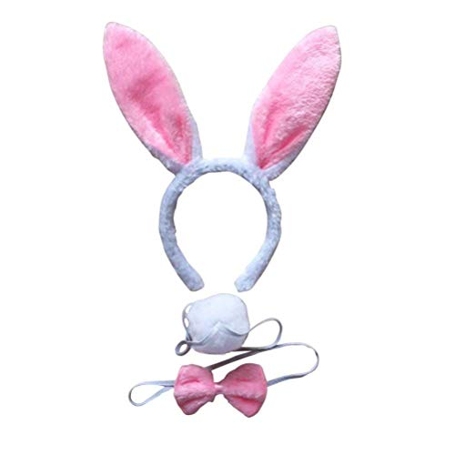 Abc Party Halloween Costumes (BinaryABC Bunny Rabbit Costume Set,Ears Headband Bow Ties Tail Set,Halloween Costume Assesories(White&)