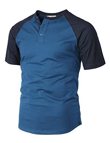 - H2H Men's Casual Slim Fit Short Sleeve Henley Shirt Raglan Baseball T-Shirts Tee BLUENAVY US XL/Asia 2XL (CMTTS238)