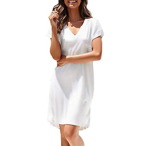 Mikilon Womens Summer Casual Dresses Plain V Neck Short Sleeve Loose Midi Dress White]()
