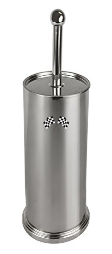The Furniture Cove Stainless Steel Finish Toilet Brush with Holder Featuring Your Favorite Novelty Theme Logo Vinyl Decal (Checkered Flags) ()