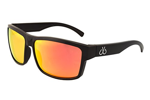 Filthy Anglers Sport Fishing Polarized Black Sunglasses Sunburst Red Mirror Lens 100% UV - Angler Sunglasses