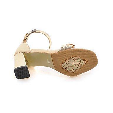 LvYuan Mujer Sandalias Confort Tira en el Tobillo Cuero Patentado Verano Vestido Confort Tira en el Tobillo Purpurina Dorado Plata Marrón7'5 - Gold