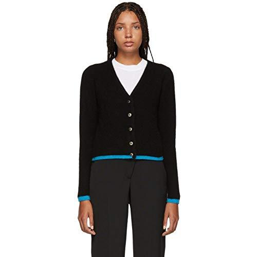 (ジ エルダー ステイトマン) The Elder Statesman レディース トップス カーディガン Black Cashmere Cropped Line Cardigan [並行輸入品]