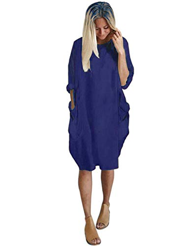 Dress Blue Pocket Dress Midi Tops Sleeve Long Casual Oversize T Shirt Womens Loose Dresses Sweetnight Tunic AaPfqf