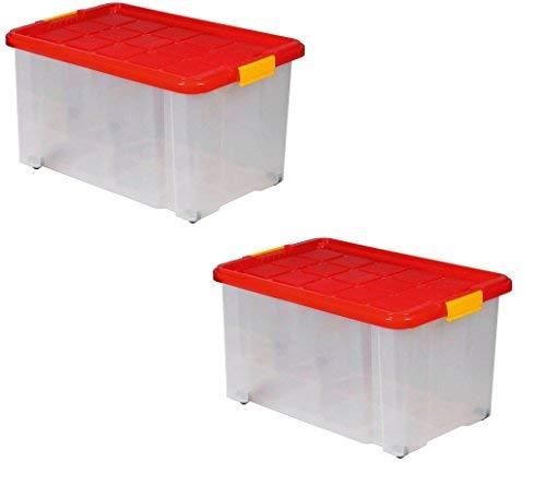 Caja de almacenamiento de plástico transparente sobre ruedas con ...