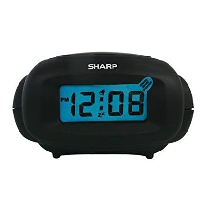 Sharp LCD Digital Alarm Clock, Black
