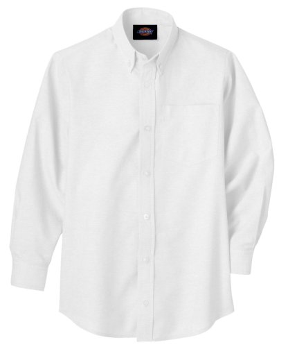 Dickies Big Boys' Long Sleeve Oxford Shirt, White, Large (14/16) (Casual Oxfords Boys)