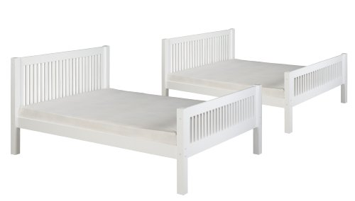 Camaflexi Mission Style Solid Wood Bunk Bed, Full-Over-Full, Side Angled Ladder, White
