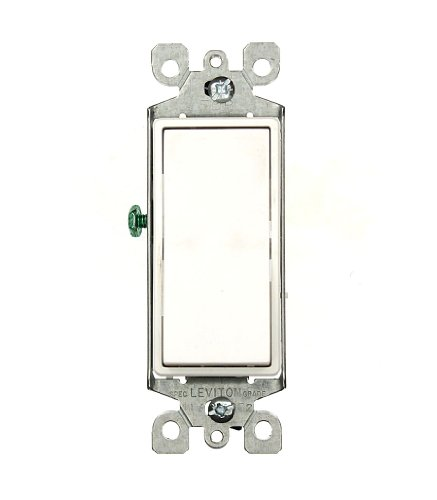 Leviton 5603-2W 15 Amp, 120/277 Volt, Decora Rocker 3-Way AC Quiet Switch, Residential Grade, Grounding, White