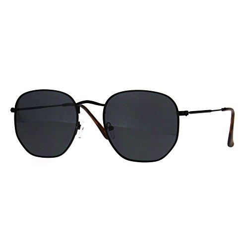 Classy Vintage Sunglasses Thin Metal Hexagon Shape Frame UV 400 Black, Black