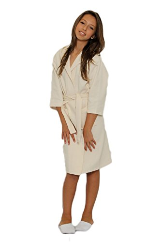TowelRobes Kid's Waffle Hooded Unisex Bathrobe (large, beige)
