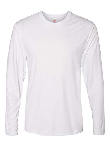 (Hanes Men's Long Sleeve Cool Dri T-Shirt UPF 50+, Large, 2 Pack ,White)