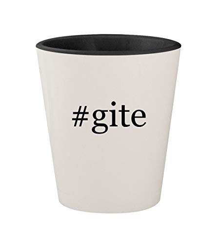 #gite - Ceramic Hashtag White Outer & Black Inner 1.5oz Shot Glass (Gites France De)