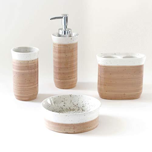 Splash Home 4-Piece Bathroom Ceramic Vanity & Countertop Organizer Set: Tall Soap & Lotion Dispenser, Tumbler, Toothbrush Holder & Soap Dish, Blush