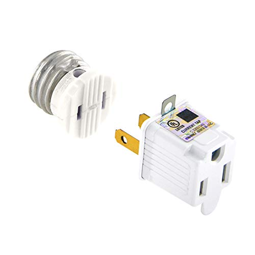 UL Listed E26/E27 Light Polarized Socket Outlet 110V Grounding Plug Converter Fireproof Material Heavy Duty 660W or 6A Receptacle in Screw Adapter w. 2 Prong to 3 Prong Adapter